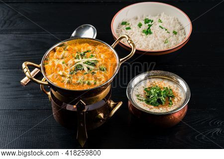 Assortment Of Indian Dishes For Dinner And Lunch Dal Fry And Raita Indian Dishes