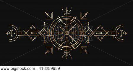 Viking Magic Symbol. Golden Esoteric Ornament, Norse Compass Amulet. Nordic Pagan Spell Rune For Tat