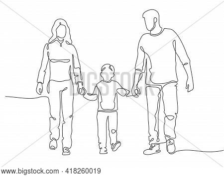 Continuous Line Family. Happy Mother, Father And Child Walking. Linear Silhouette Of Couple With Kid