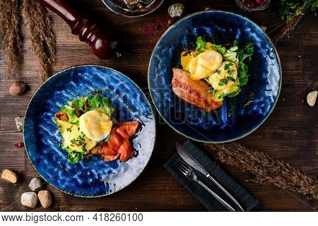 Poached Egg On Toast, With Smoked Bacon, And Salad