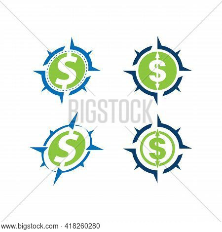 Compass Icon With Dollar Sign. World Stock Exchange. Logo Of Business And Money Transfers. Stock Vec