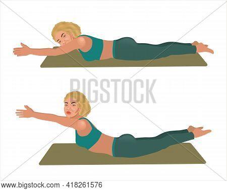 Beautiful Sporty Blonde Woman Practicing Sarpasana Pose. Viparita Shalabhasana Yoga Pose. Locust Yog