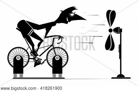 Cyclist Trains At Home On The Exercise Bike Illustration. Cyclist Man Rides On Exercise Bike In Fron