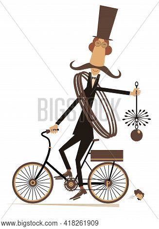 Funny Long Mustache Chimney Sweeper Illustration. Mustache Chimney Sweeper In The Top Hat With The R