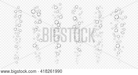 Underwater Fizzy Air, Oxygen Or Water Bubbles Isolated On White Background. Realistic Illustration O