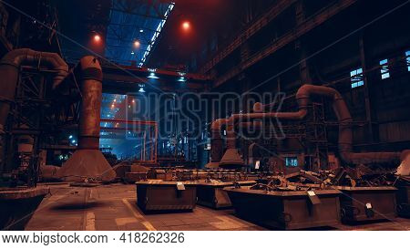 Metallurgical Plant Foundry Interior Inside, Heavy Industry.