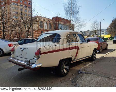 Moscow, Russia - April 17, 2021: Old Russian Car Gaz-21 Volga, Soviet Union Vintage Car. Close-up Ba