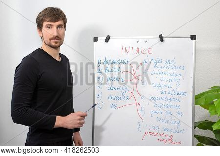 An English Teacher, Looking At The Camera, Conducts A Video English Lesson, Presents The Topic On A