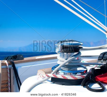 Yacht. Yachting. Sailboat Winch and Rope Yacht detail.