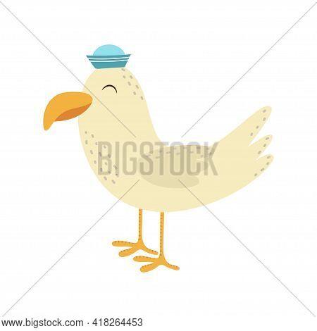 Seagull Bird, Big Beak, Arctic Animal Collection, Cute Cartoon Baby Character, Card With Cute Seagul