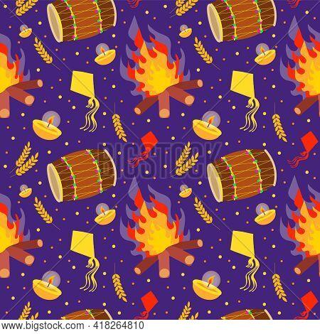 Punjabi Festival Of Lohri Celebration Bonfire, Vector Seamless Pattern
