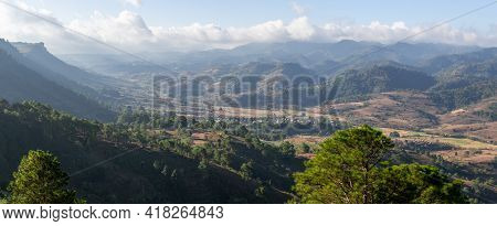 Panorama Of Cliff Edge Over A Valley Between Kalaw And Inle Lake, Myanmar