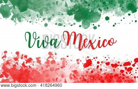 Viva Mexico Holiday Background. Independence Day Concept Vector Banner