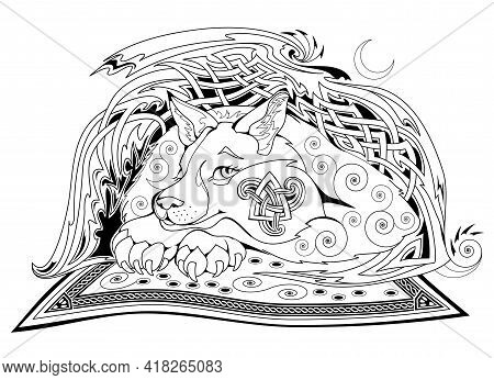 Black And White Page Coloring Book. Fantasy Celtic Animal From Ancient Legend With Triple Symbol. Mo