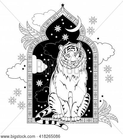 Black And White Page Coloring Book. Fantasy Illustration Of Fairyland Tiger From Ancient Eastern Leg