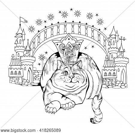 Black And White Page Coloring Book. Fantasy Illustration Of Wonderland Cat And His Kingdom. Print Fo