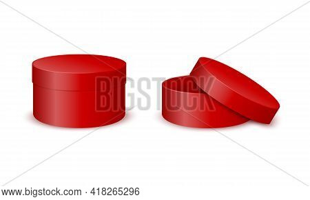 Red Round Cardboard Boxes Mockup. Closed And Open Cylinder Packages Isolated On White Background. Co