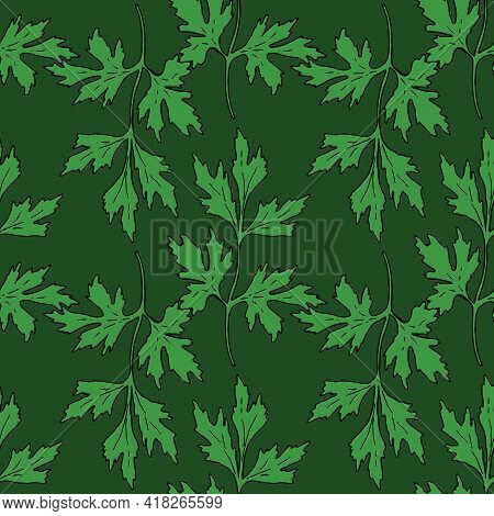 Hand Drawn Closeup On Green Background. Floral Background. Seamless Pattern. Hand Drawn Illustration