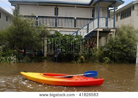 Brisbane, Australia - January 28 : Houses Flooded From Ex Tropical Cyclone Oswald On January 28, 201