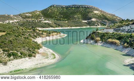 Aerial View Of Korifi Peak And Germasogeia Water Reservoir Near Limassol, Cyprus