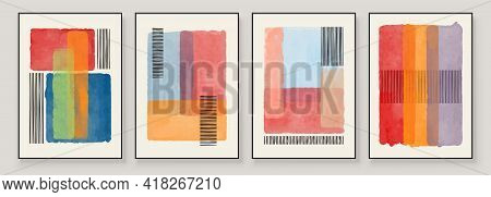 Set Of Abstract Hand Painted Illustrations For Wall Decoration, Postcard, Social Media Banner, Broch