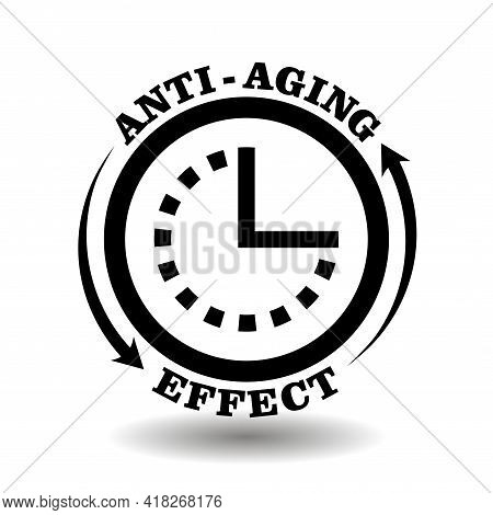 Round Creative Logo For Anti-aging Effect Cosmetics Packaging. Anti Age Chemical Complex Symbol With