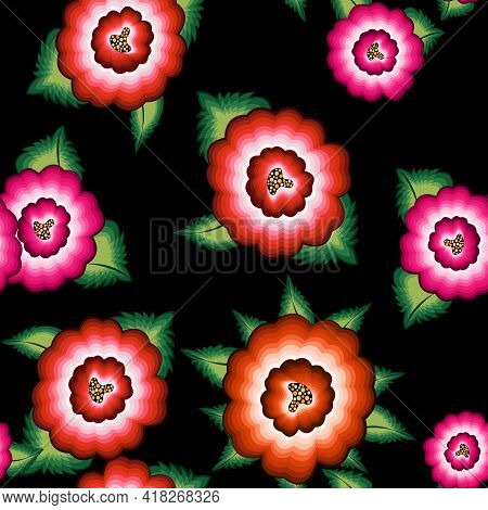 Seamless Mexican Floral Embroidery Pattern, Ethnic Colorful Native Flowers Folk Fashion Design. Embr