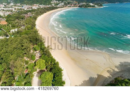 Tropical Sea Sandy Beaches With Wave Crashing On Sandy Shore Aerial Shooting Of Beaches At Kata Beac