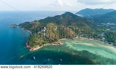 Aerial View Drone Uav Top Down Birds Eye View Blue Water And Coral Reef At Koh Tao Thailand By Drone