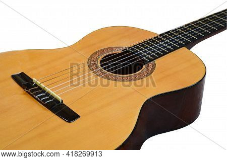 String Guitar Isolated On White Background, Musical Instrument Concept And Music