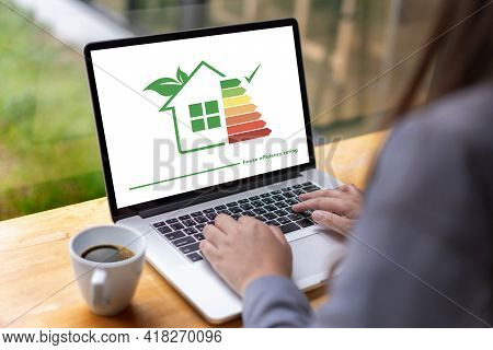 Green House Checking Detail Of House Efficiency Rating Good Ecological And Bio Energetic House Effic