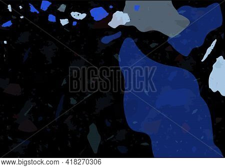 Terrazzo Modern Abstract Template. Black And Blue Texture Of Classic Italian Flooring. Venetian Terr