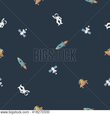 Astronaut With Rocket And Alien In The Open Space Galaxy Pattern Cartoon Style. Cute Design For Kids