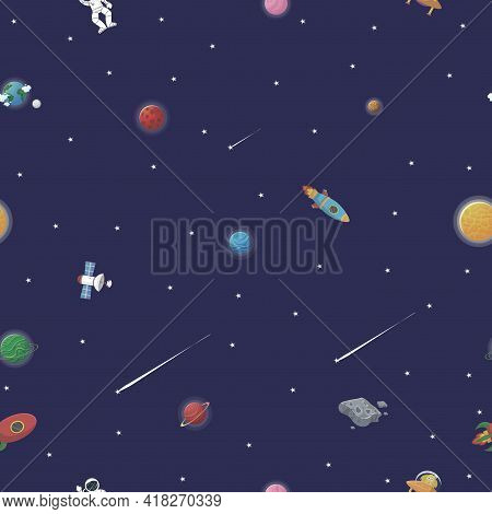 Space Pattern With Planets And Stars. Astronaut With Rocket And Alien In The Open Space Cute Design