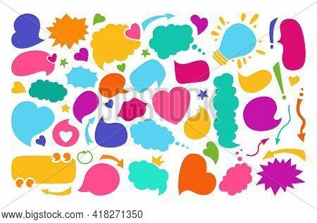 Speech Bubbles Color Empty Flat Cartoon Set. Speech Thought Blobs Comics, Balloon Chat Multicolored
