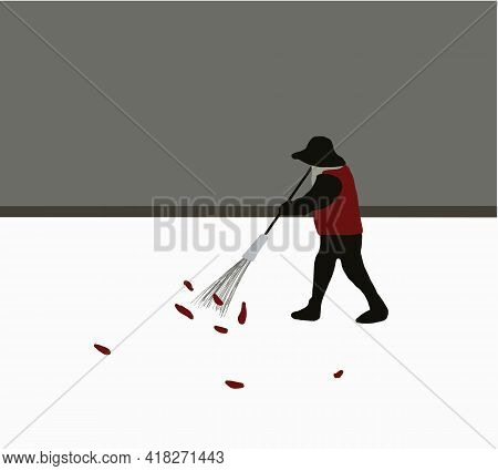 Senior Man With Broom Sweeping Fallen Leaves. Floor Garbage Cleaning Service Concept City. Maintenan