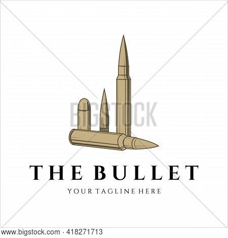 Bullet Ammo Vintage Vector Logo Illustration Template Design. Army And Military Equipment For War Or