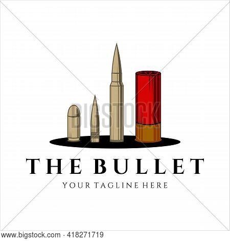 Various Bullet Ammo For Gun Logo Vintage Vector Illustration Concept Template Icon Design. Mix Of Bu