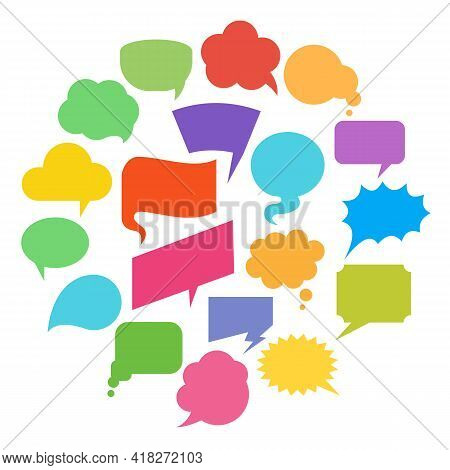 Speech Bubbles Colorful Flat Icon Set. Blank Design Elements For Comic Book, Chat Comment, Text Mess
