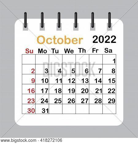 Calendar For October 2022. Monthly Calender 2022. Planner Diary. Vector Illustration. Stock Image. E