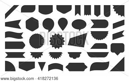 Black Flat Label Icon Set. Different Shape Sale Tag, New Offer Sticker Collection. Paper Ribbon Bann