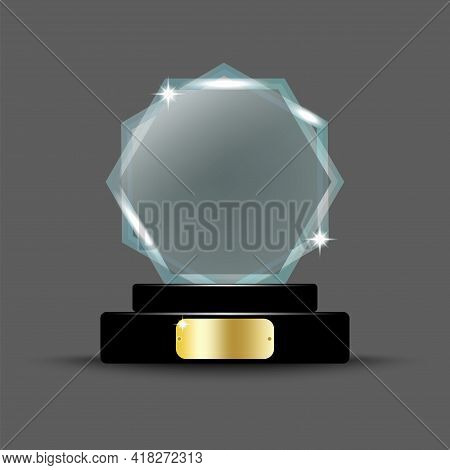 Crystal On Stand On Transparent. Championship Trophy. Sport Award. Winner Award. Vector Illustration