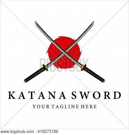 Katana Sword Logo Vintage Vector Illustration Design. Modern Japanese Sword Of Katana Logo Concept T