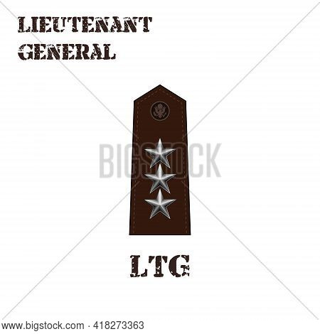 Realistic Vector Icon Of The Chevron Of The Lieutenant General Of The Us Army. Description And Abbre