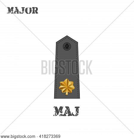 Realistic Vector Icon Of The Chevron Of The Major Of The Us Army. Description And Abbreviated Name