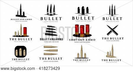 Set Of Various Bullet And Ammo Logo Vintage Vector Illustration Template Concept Icon Design. Bundle