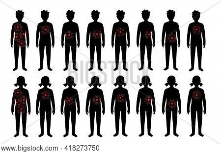 Pain In Internal Organs In A Boy And A Girl Body. Problem With Liver, Pancreas, Lungs And Other Orga