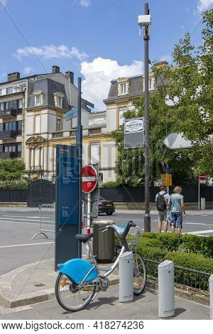 Luxembourg, Grand Duchy Of Luxembourg - July 06, 2018: Bicycle Parking On Luxembourg Street