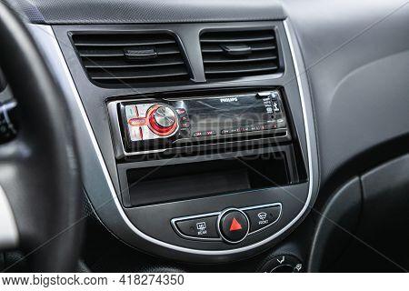 Novosibirsk, Russia - April 25 2021: Hyundai Solaris, A Close Up On A Black Panel With Radio,  Playe