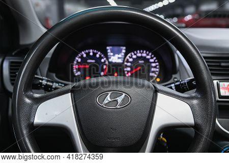 Novosibirsk, Russia - April 25 2021: Hyundai Solaris, Auto Interior: Steering Wheel With  Logo    An